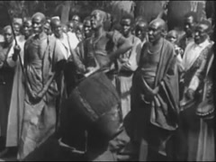 African natives playing instruments and dancing, 1940s Stock Footage