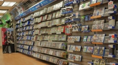 Interior Video Games Store Merchandise Display Stock Footage