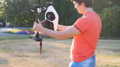 Technician calibrating multicopter compass pilot aviation Stock Footage