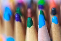 Close up macro shot of color pencil pile pencil nibs selective focus Stock Photos