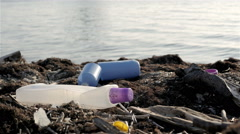 Dump Garbage On The Beach Near The Sea, Environmental Pollution - stock footage