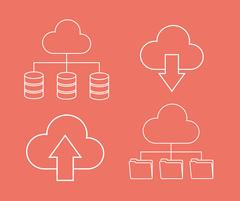 Arrow file archive data center web hosting. Vector graphic - stock illustration