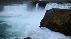 Godafoss powerful scenic waterfall northern Iceland wide angle view Stock Footage