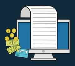 Computer document paper invoice payment icon. Vector graphic Stock Illustration