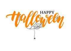 Happy Halloween vector lettering. Holiday calligraphy with spide Stock Illustration