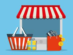 computer shopping online store market icon. Vector graphic - stock illustration