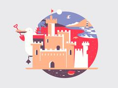 Sand castle flat - stock illustration