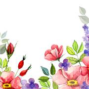 Hand painted watercolor vector floral background - stock illustration