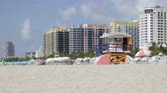 Colorful lifeguard tower and hotels, Miami Beach Stock Footage