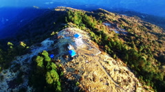 Poon hill peak lookout tower, Himalayas. Aerial mountain panoramic 4k video Stock Footage