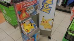 Pokemon Memorabilia Display Store Merchandise Stock Footage