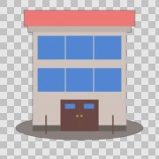 2d Cartoon Style Animated Building  Stock Footage