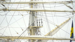 The velum ropes and poles of the big ship Stock Footage
