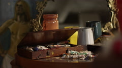 Tubes of paint in the painting studio Stock Footage