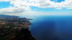 Flight aerial ocean city Funchal coast seashore Portugal Madeira 4k travel video Stock Footage
