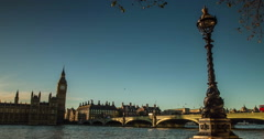 View of Big Ben and Westminster Bridge in London Stock Footage