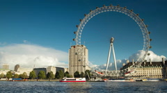 View of giant ferries wheel in London Eye Stock Footage