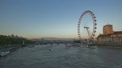 View of giant ferries wheel in London Eye Stock Footage
