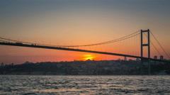 View of Bosphorus Bridge during sunset Stock Footage