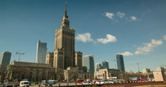View of Palace of Culture and Science in Warsaw Stock Footage