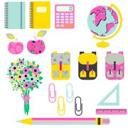 School supplies vector clip art stationery objects Stock Illustration