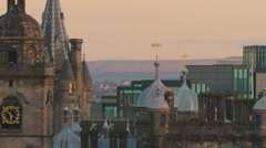View of cathedral and clock tower in Edinburgh Stock Footage