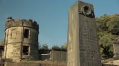 View of tombstone in graveyard, Edinburgh Stock Footage