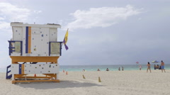 Lifeguard Tower on South Beach, Miami Stock Footage