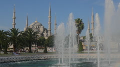 Fountain and Sultan Hamet Mosque in Istanbul Stock Footage