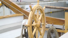 The wooden steering wheel with the motor Stock Footage
