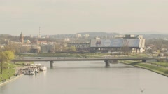 View of ferry and vehicles moving on bridge Stock Footage