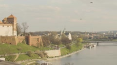 View of castle and cityscape in Krakow Stock Footage