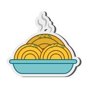 spaghetti dish icon - stock illustration