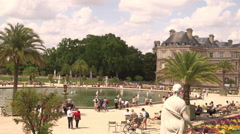Tourists in Luxembourg Garden Stock Footage