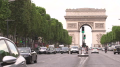 Arc de Triomphe and Champs-Elysees Avenue in Paris Stock Footage