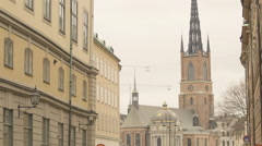 Riddarholmen Church in Stockholm Stock Footage