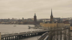 Vehicles moving on Centralbron bridge in Stockholm Stock Footage