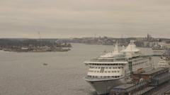 Large Cruise Liner docked in Stockholm Stock Footage