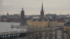 View of Centralbron bridge and cityscape in Stockholm Stock Footage