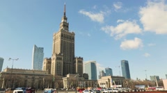 Palace of Culture and Science in Warsaw Stock Footage