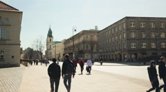 People walking on Castle Square Stock Footage