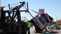 Rolled over firetruck brought back on wheels. Stock Footage