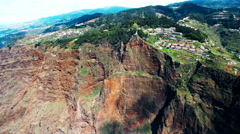 Aerial mountain city Funchal. Portugal Madeira village 4k video rocky cliff Stock Footage