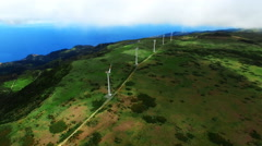 Portugal Madeira ECO alternative energy 4k video. Hills wind farm turbines ocean Stock Footage