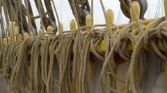 Wooden small poles with lots of ropes Stock Footage