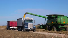 A harvester loads grain into a truck on a rural farm in America. Stock Footage