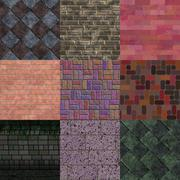 Set of brick pavement generated textures Stock Illustration