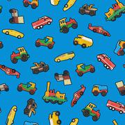 Toy cars seamless wallpaper or background - stock illustration