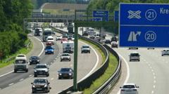 4K German Autobahn Motorway Freeway Highway Summer heat wave Germany Europe Stock Footage