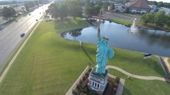 4k Aerial Drone Footage of the Statue of Liberty replica in Memphis, TN Stock Footage